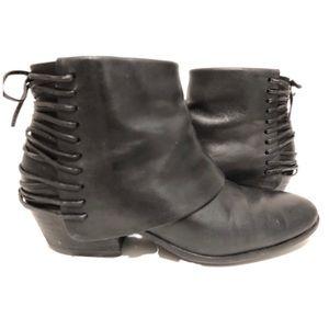 Sam Edelman Corset Back Black Leather booties 6
